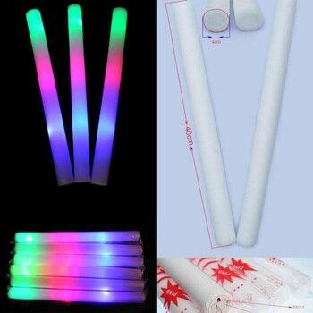 100 Sztuk/partia LED Pałeczka Piankowa Kolorowe Pałeczka Fluorescencyjna Fluorescencyjny Blask Rajd Rave Cheer Rury Baton Różdżki Party Festival światła Kij