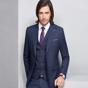 Dark Blue Striped Blazer Men Business Style Suit Wedding Suit Groom Tuxedos 3 Pieces (Jacket+Vest+Pants) Plaid Suits Men 2018