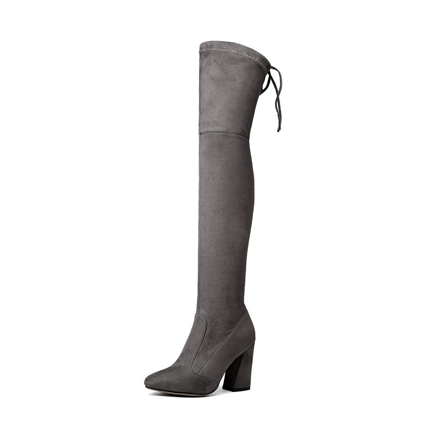 2018fashion Women Over The Knee BootsGray Lace Up Round Toe Women Shoes Square High Heel Stretch Fabric Boots Size 34-43 vallkin 2018 lace up women boots rhinestone square high heel over the knee boots stretch fabric wedding ladies boots size 34 43