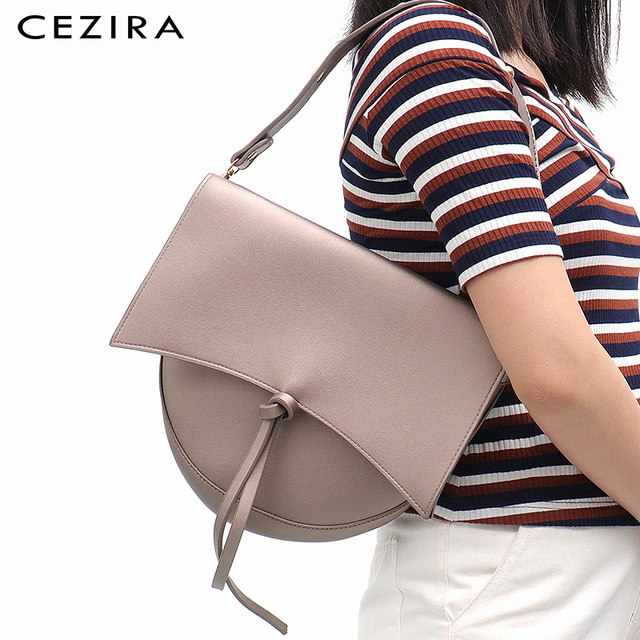 CEZIRA Brand Designer Women Shoulder Flap Bags High Quality Vegan Leather Handbag Ladies Solid Girl Fashion Cross body Messenger 1