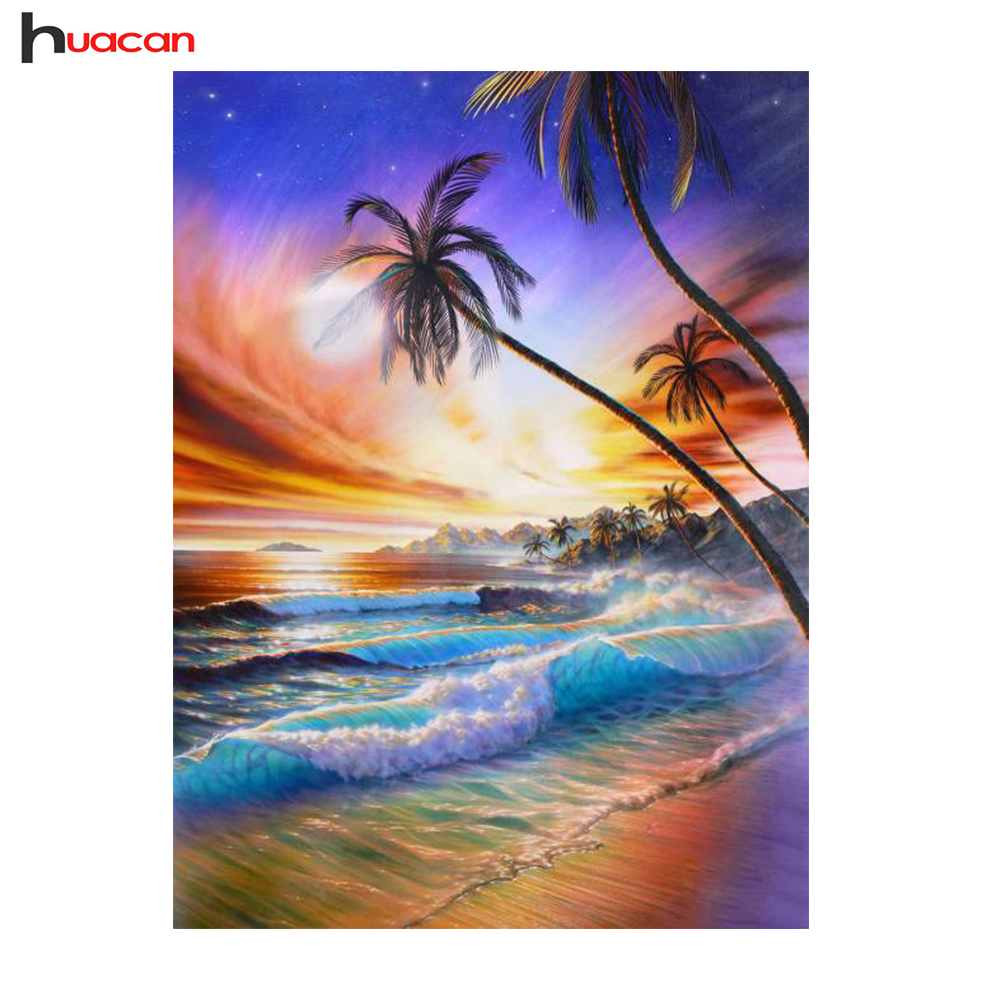 HUACAN Full Square Scenic Diamond Painting Cross Stitch Wall Art Decor DIY 5D Diamond Mosaic Waterfall Picture of Rhinestones