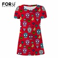 FORUDESIGNS Dress 3D Skull Heads Women Dresses Funny Fashion Short Sleeves Dresses for Ladies Casual Mini Tunic Dresses Vestidos