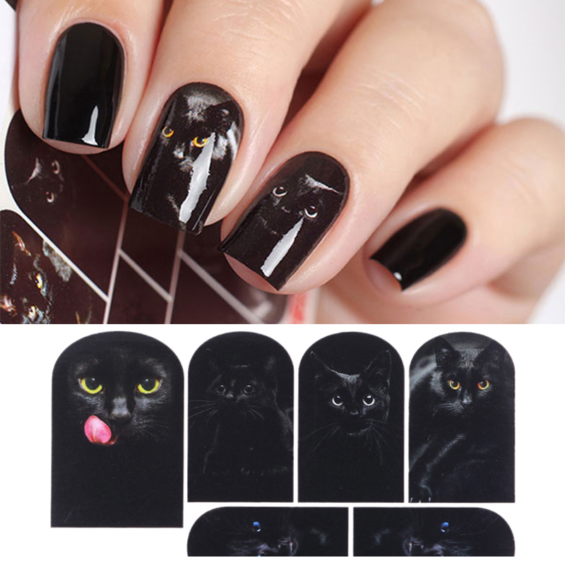 Mysterious Black Cat Nail Water Decal Nail Art Manicure Transfer Sticker Nail Sticker Tattoo Decals Water Slide Decoration wild style water transfer decal nail art decoration sticker