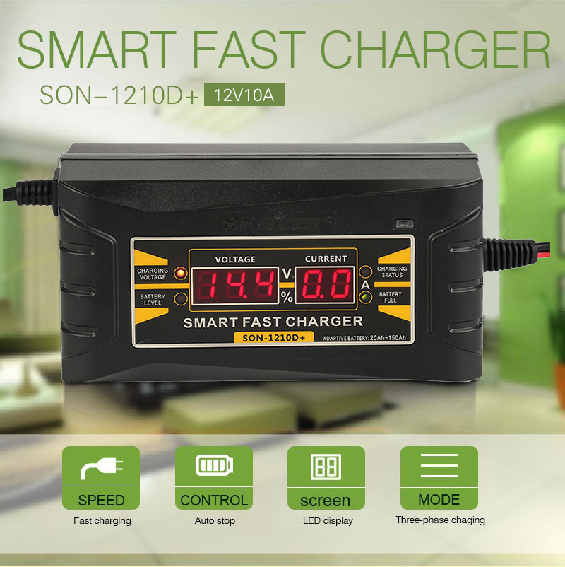 Cargador inteligente de batería para coche PRO, Cargador rápido de batería de plomo y ácido 12 V 10A con pantalla LCD y enchufe de ee.uu. para UE