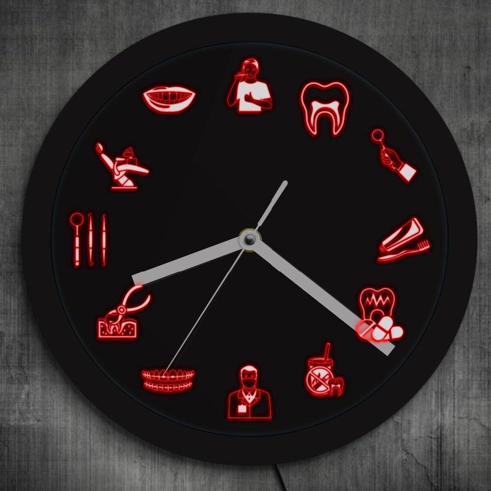 Dent dentaire bureau horloge hygiéniste LED éclairage décor dents saines horloge murale dentiste cadeau