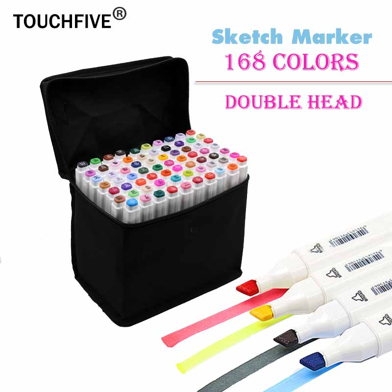 Touchfive 168 Colors Painting Art Mark Pen Alcohol Marker Pen Cartoon Graffiti Art Sketch Markers for Designers Art Supplies touchnew 60 colors artist dual head sketch markers for manga marker school drawing marker pen design supplies 5type