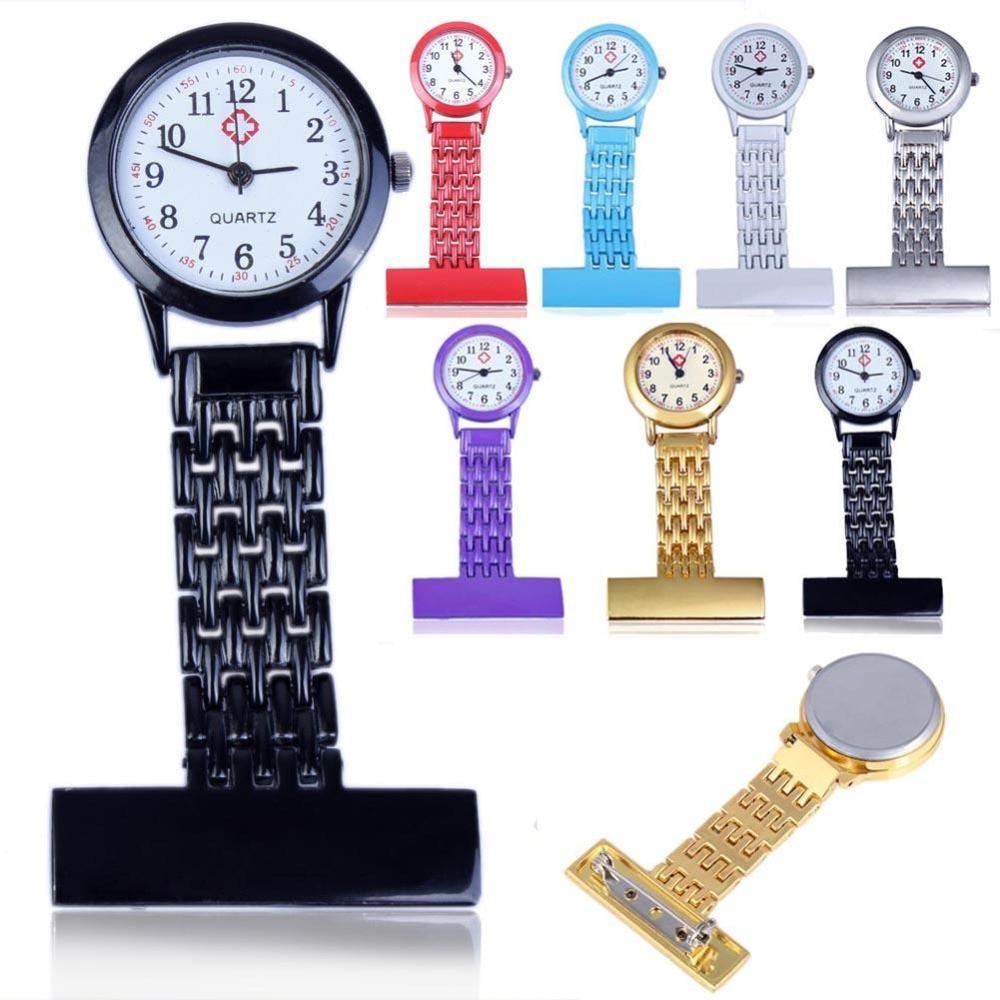 Clip Nurse Doctor Pendant Pocket Quartz Red Cross Brooch Nurses Watch Fob Hanging Medical Reloj De Bolsillo