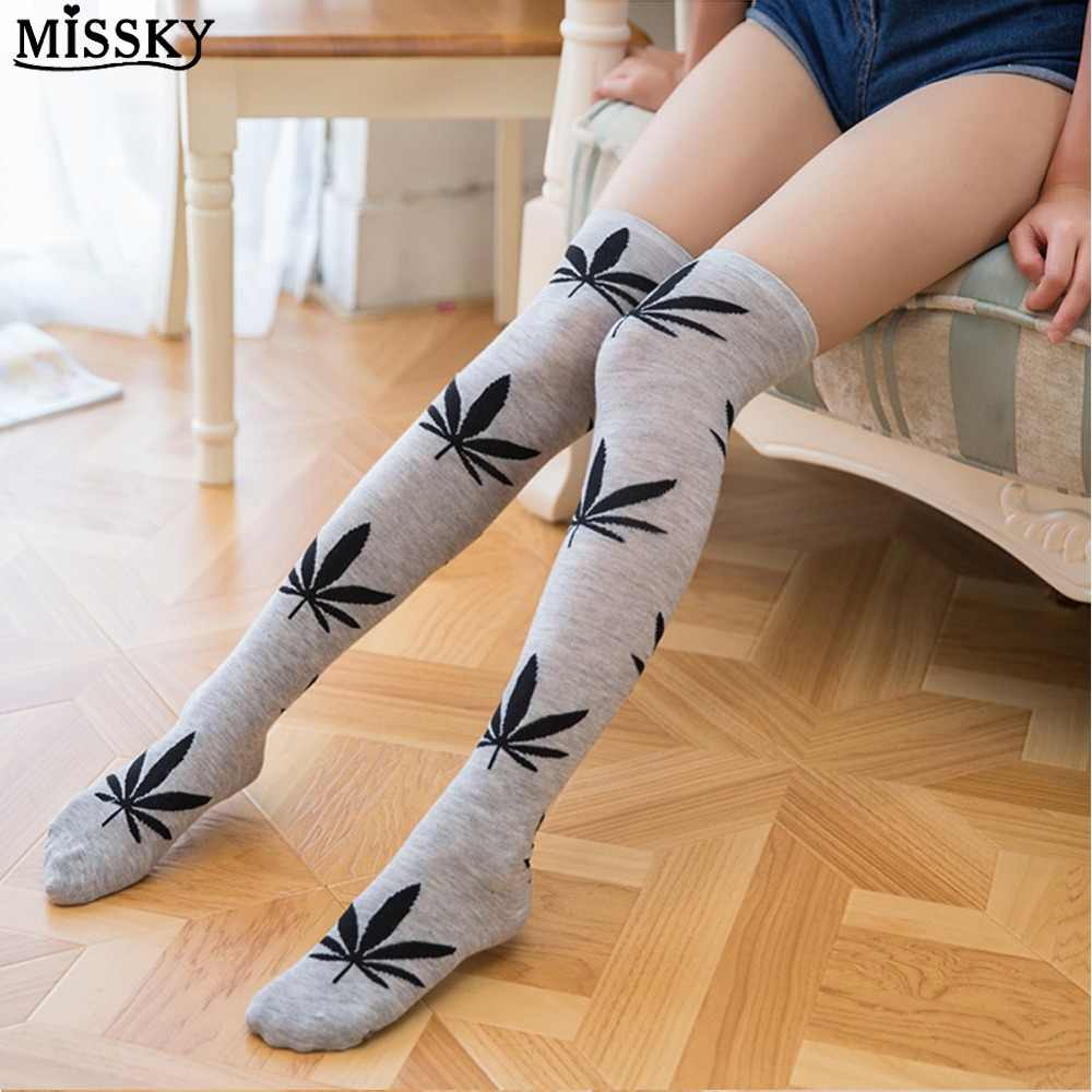 c85ccbcd468 MISSKY Women Sexy Thigh High Over-Knee Socks with Maple Leaf Printing  Floral Tube Stockings