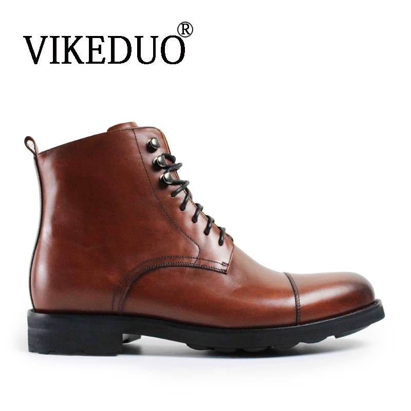 VIKEDUO Vintage 2018 brand classic Retro shoes handmade fashion luxury party Dress boots 100% Genuine leather Snow Women boots