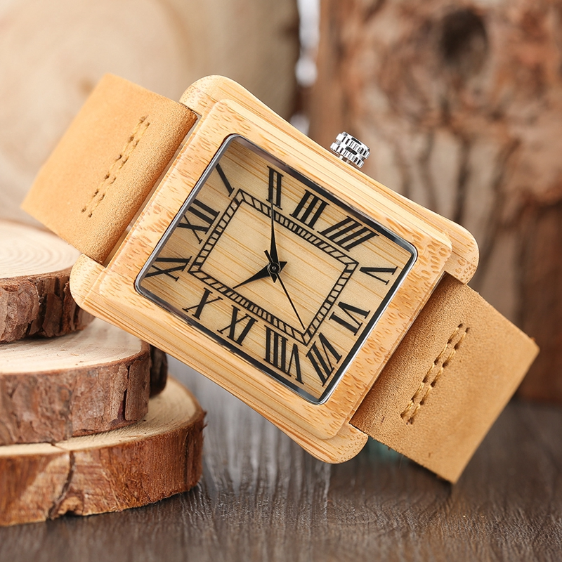 Rectangle Dial Wooden Watches for Men Natural Wood Bamboo Analog Display Genuine Leather Band Quartz Clocks Male Christmas Gifts 2020 2019 (50)