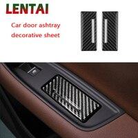 LENTAI Auto Car Styling Carbon Fiber Interior Cigarette Ashtray Protective Panel Cover Sticker For Audi Q7 2016 2017 Accessories