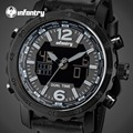 INFANTRY Watches Men Leather Strap Chronograph Stop Watches Military Army Glow In The Dark Sports Watch Dual Display Wristwatch
