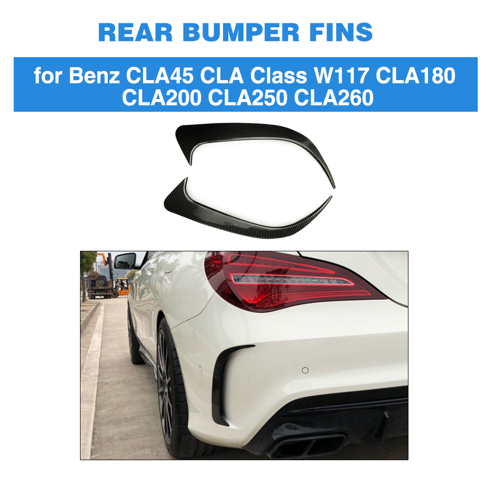 For <font><b>Mercedes</b></font>-Benz Benz CLA Class W117 CLA200 250 <font><b>CLA45</b></font> <font><b>AMG</b></font> Rear Bumper Air Vent Trim Cover 2013 - 2018 Gloss Black / Carbon look image