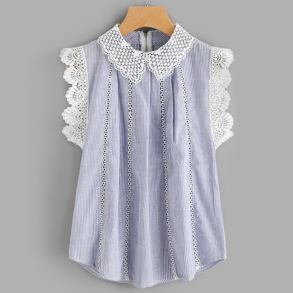 blusasmujerdemoda2019women's  blouse    shirt   Women's Summer Long Slim Sleeveless Lace Trim Embroidered Tops plus size
