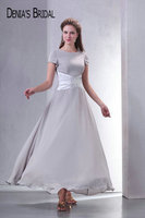 Grey O Neck A Line Mother of the Birde Dresses with Pleated Satin Belt Short Sleeves Ankle Length Chiffon Long Prom Gowns