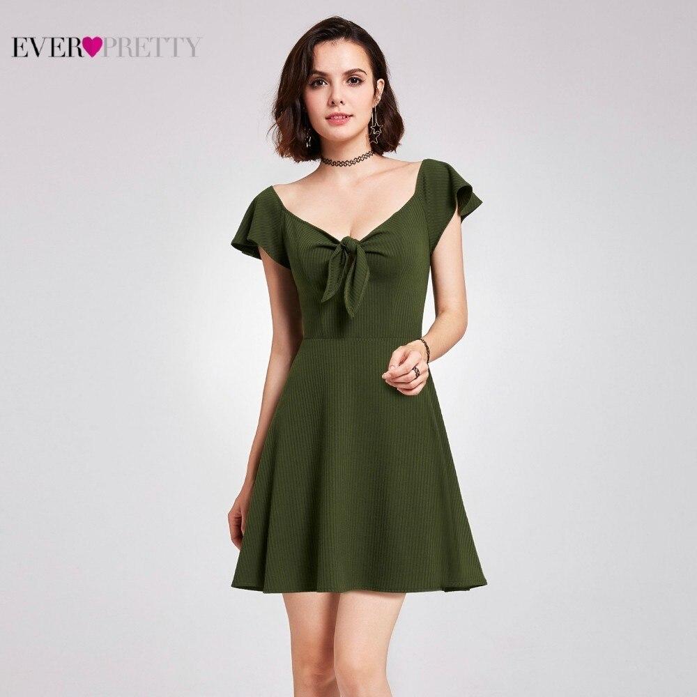 Green Short Bridesmaid Dresses Ever Pretty Dresses A-Line V-Neck Women Dresses For Wedding Party Vestido De Fiesta Para Boda