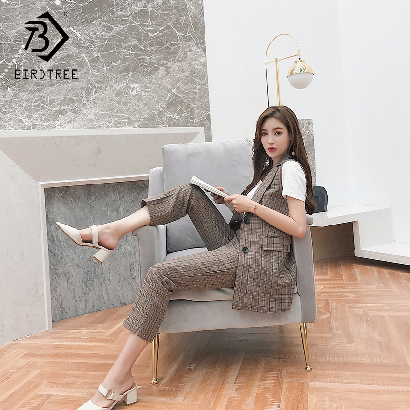 2018 Spring New Arrival Fashion Women Two Piece Sets Striped Blazer And Pants Sleeveless Turn-down Collar Button Fly S85022LD