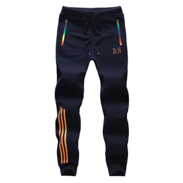 Новый 2016 мужская мода тенденция алфавита заклинание цвет полосы адаптивной шнуровкой эластичный пояс повседневные брюки М-5XL