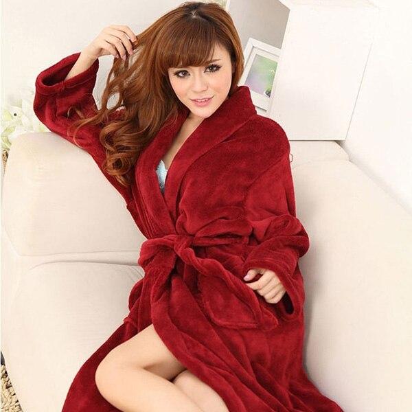 fc3ab0b9014e Medium-long solid color sexy flannel sleepwear female robe bathrobes winter  lounge women men pajamas