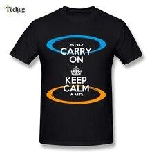 Casual Man Keep calm and Portal T-Shirt Custom Popular Game Tee Shirt