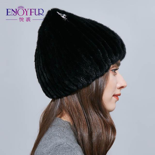 6d23a4a2ec7b5 placeholder ENJOYFUR Sparkling Rhinestones Real Mink Fur Hat Female Fashion Fox  Fur Winter Hats For Women Cat