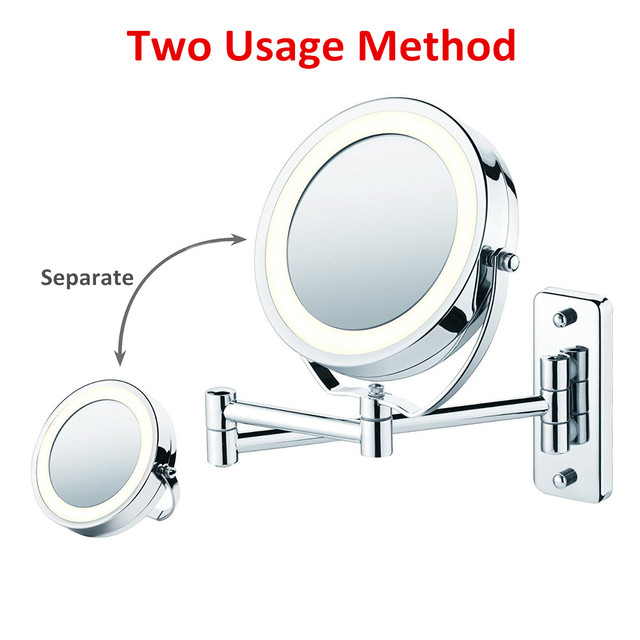 "6"" Diameter Bathroom Shaving Makeup Mirror With LED Lights Wall Mount Two Sides Extendable Rotate Cosmetic Mirror Magnifying 7X"