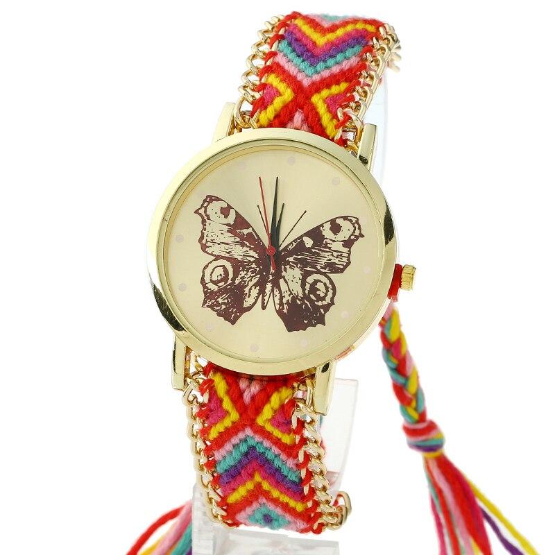 Gnova Platinum Watch Women Henna Tatto Black Butterfly Hippie Braided Lace Indian Fashion wristwatch Ethnic Style Golden Chain
