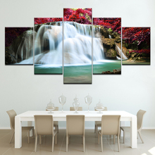 The waterfall red flowers landscape 5 piece Wallpapers modern Modular Poster art Canvas painting for Living Room Home Decor forest waterfall landscape 5 piece canvas wallpapers modern modular poster art canvas painting for living room home decor