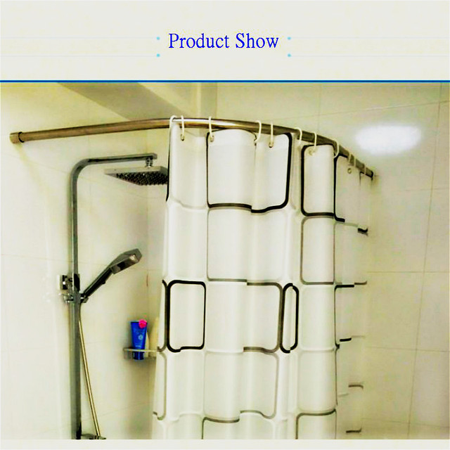 Curved BATH Shower Curtain Poles Rod Rail Stainless Steel Bathroom ...