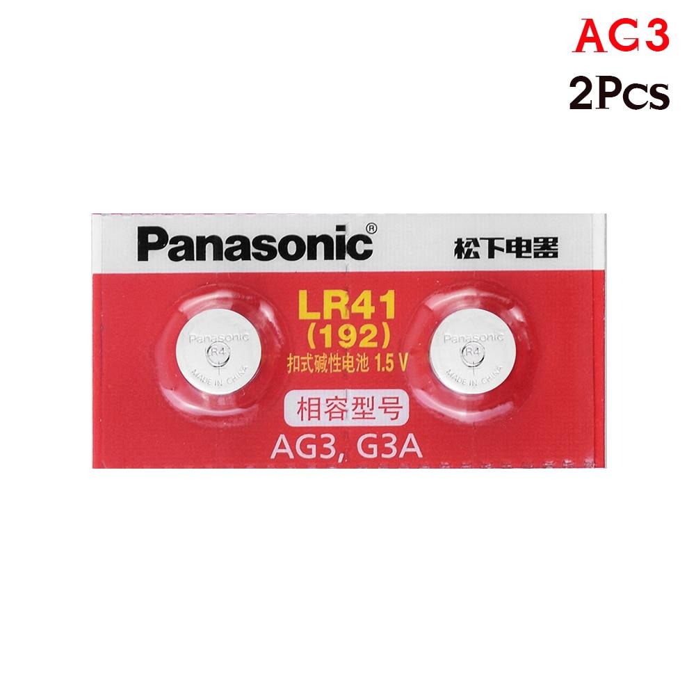 Panasonic 100% Original 2pcs/lot LR41 Button Cell Batteries SR41 AG3 G3A L736 192 392A Zn/MnO2 1.5V Lithium Coin Batteries