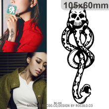 Water Transfer Temporary Tattoo Sticker Vintage Chest Designs Halloween Horror Black Snake Tattoo Body Art Tattoo Sticker Taty