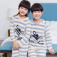 Купить с кэшбэком Flannel Pajamas set for Children 2018 New Products winter Girls House Clothes Suits Kids Cartoon warm long sleeved Home Clothing