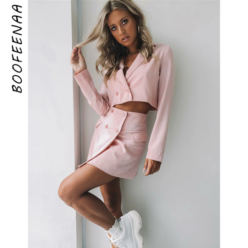 BOOFEENAA Pink Long Sleeve Blazer Skirt Two Piece Set Women Outfit 2019 Office Dress Suits Work Wear Sexy Matching Sets C92-AE83