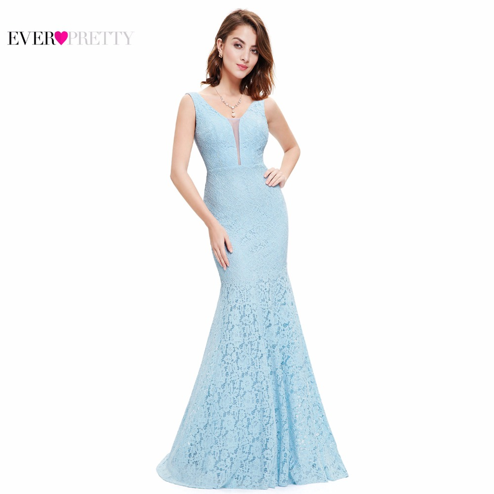 Lace Mermaid Prom Dresses Long 2017 Ever Pretty EP08838 Fashion Small Train...