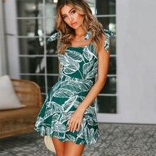 dd6b46b621a Women Summer Dress Boho Tropical Leaf Print Beach Dress Sleeveless Spaghetti  Strap Sexy Backless Ruffle Mini Dress Sundress Robe