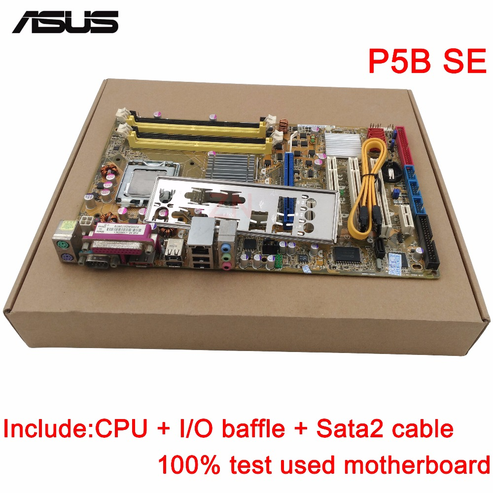 original Used Desktop motherboard For ASUS P5B SE P5B support LGA 775 2*DDR2 support 8G 4*SATA2 ATX asus p5g41 m le original used desktop motherboard g41 socket lga 775 ddr2 8g sata2 usb2 0 uatx