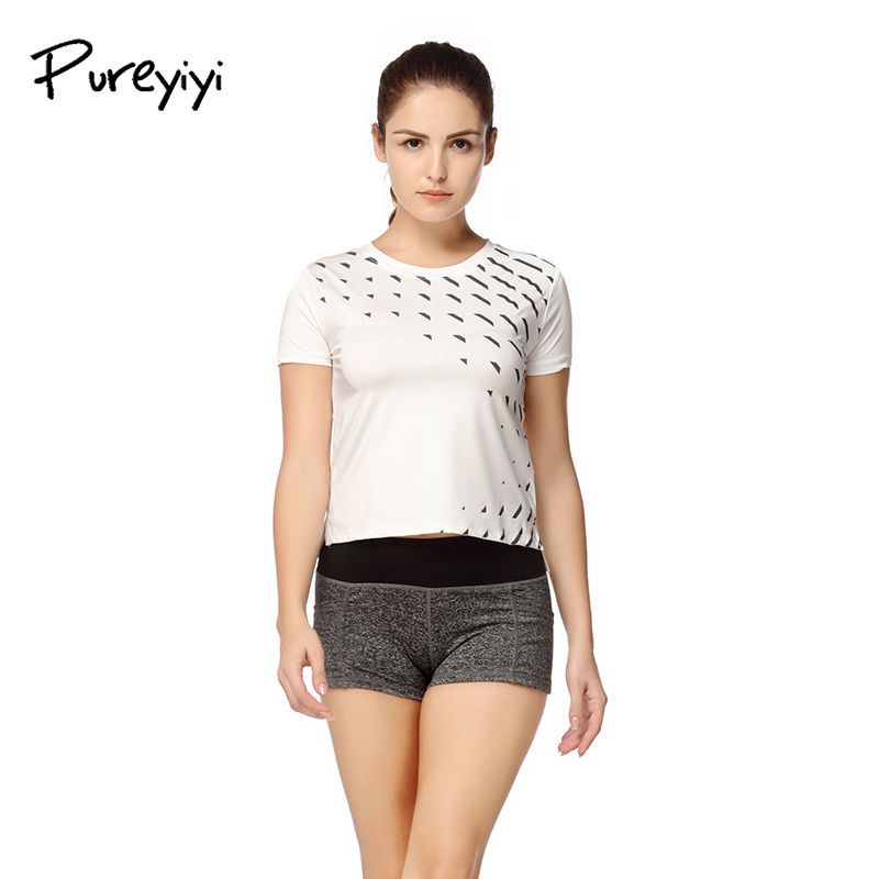 Pureyiyi Summer Fitness Women Sports T-shirt Running Short Sleeve Gym Sexy Sportswear Tennis Tops Running T Shirts