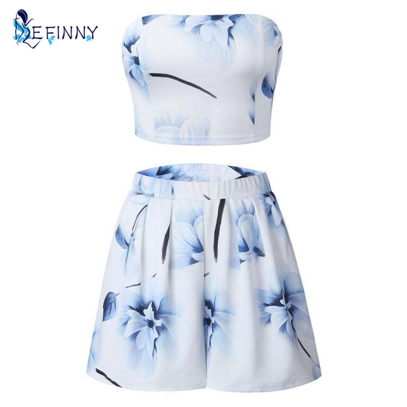 2018 Summer Sexy Female Casual Printing Strapless Short Coat Chiffon Shirt Shorts Womens Sets Comfortable Self-cultivation