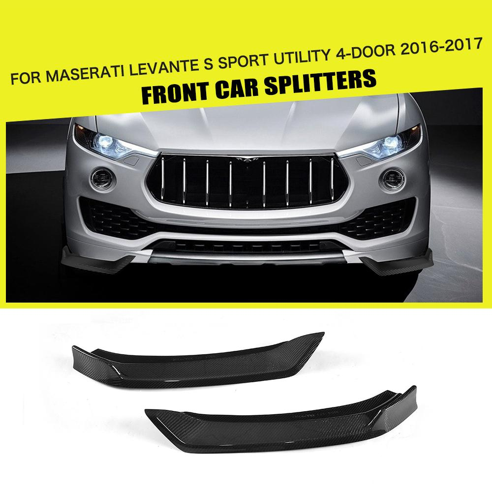 For Maserati Levante 4 Door 2016 2017 Front Bumper Lip Splitters Side Aprons Cupwings Flaps Winglets Carbon Fiber / FRP