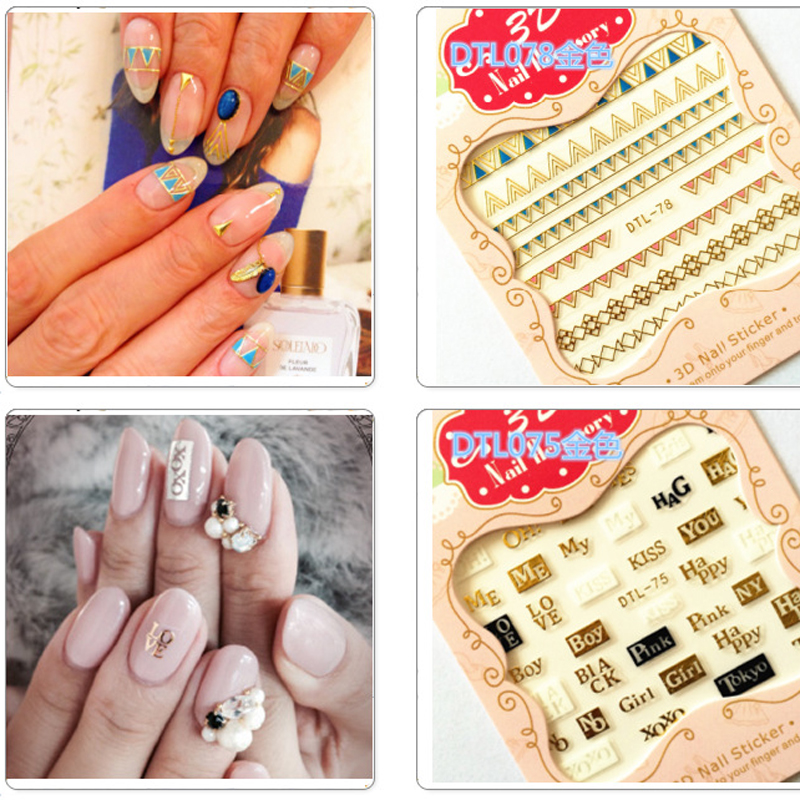 Fashion 1 Pieces Graphic Signs Words Designs 3d Nail Art Stickers