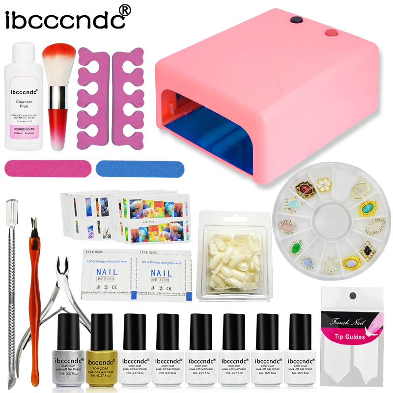 Nail builder professional manicure tools 36w uv lamp+6 color uv Gel varnish nail base+curved nail tips color gel polish set