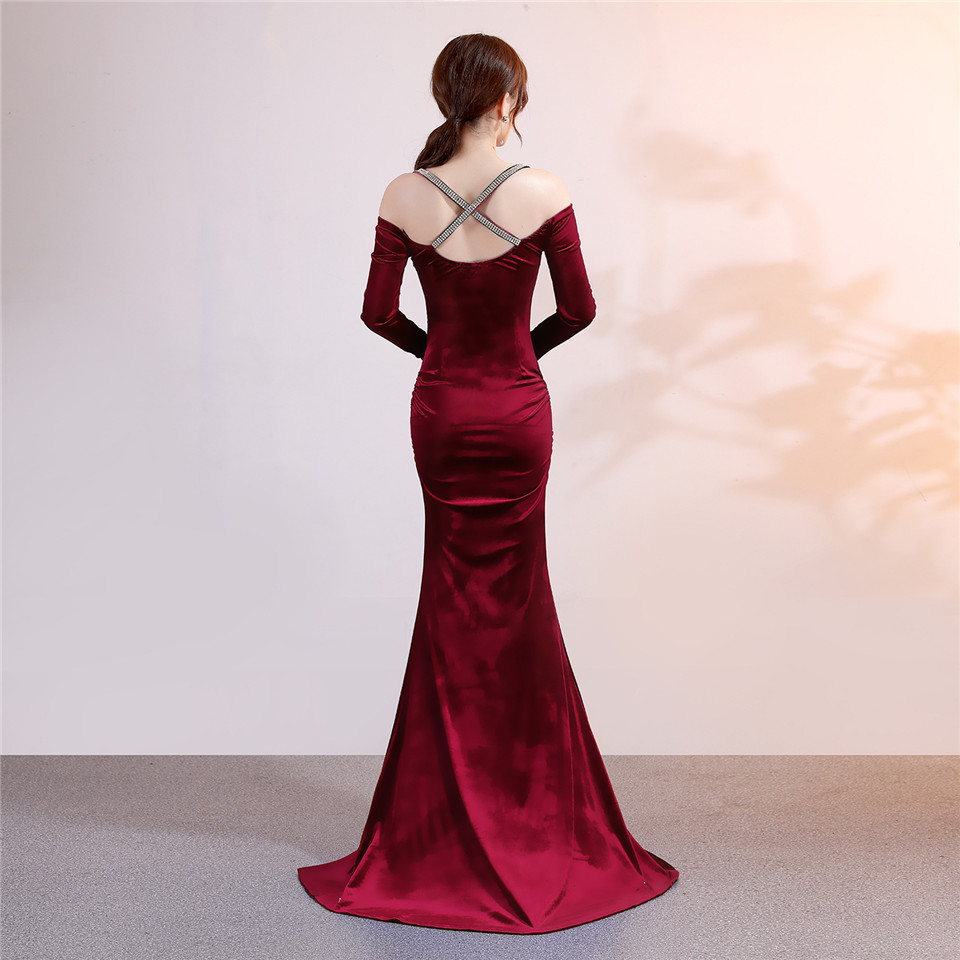 It's Yiiya Evening dress Spaghetti Strap Full sleeves party gowns Royal Crystal Floor-length zipper Mermaid prom dresses C177