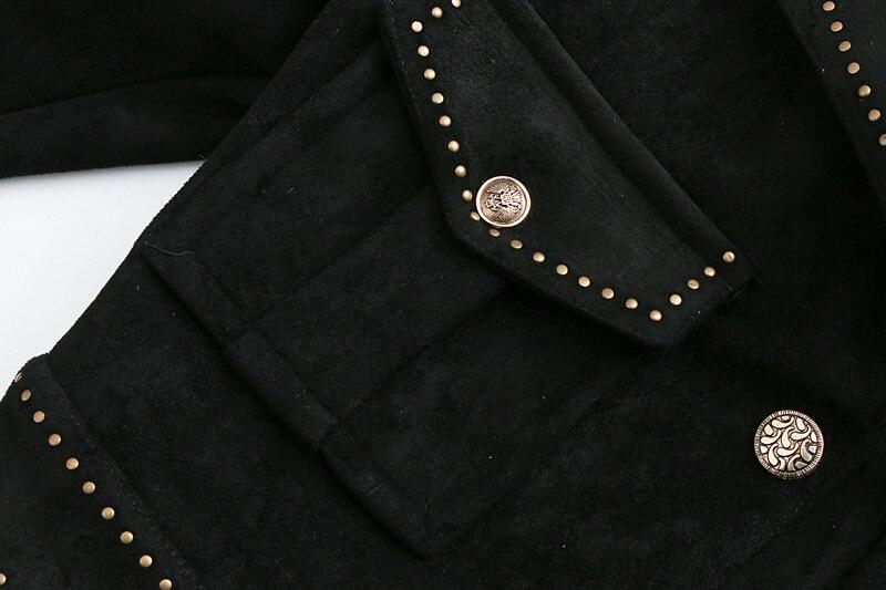 Nouvelle Courte À Longues Femelle Mode De Femmes Cuir Manches Mince En Couleur Solide 1 Veste Hiver 2018 AtqHYf