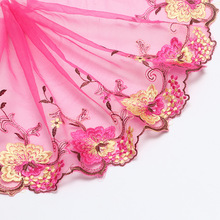 1Yard Lace Ribbon High Quality Fabric Peacock Multicolor Rose Flower Pattern Width 15-22cm