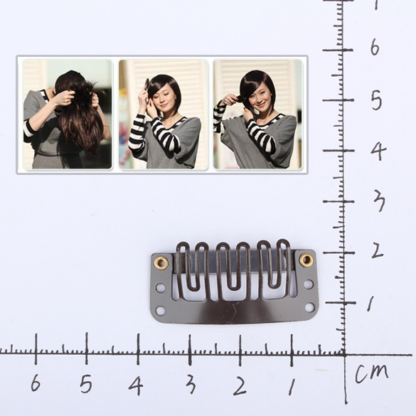 Black Hair Clips Tools For Hair 40 Pcs Clip 32mm Middle Clip Hair Extension Brown Weft Snap H7JP