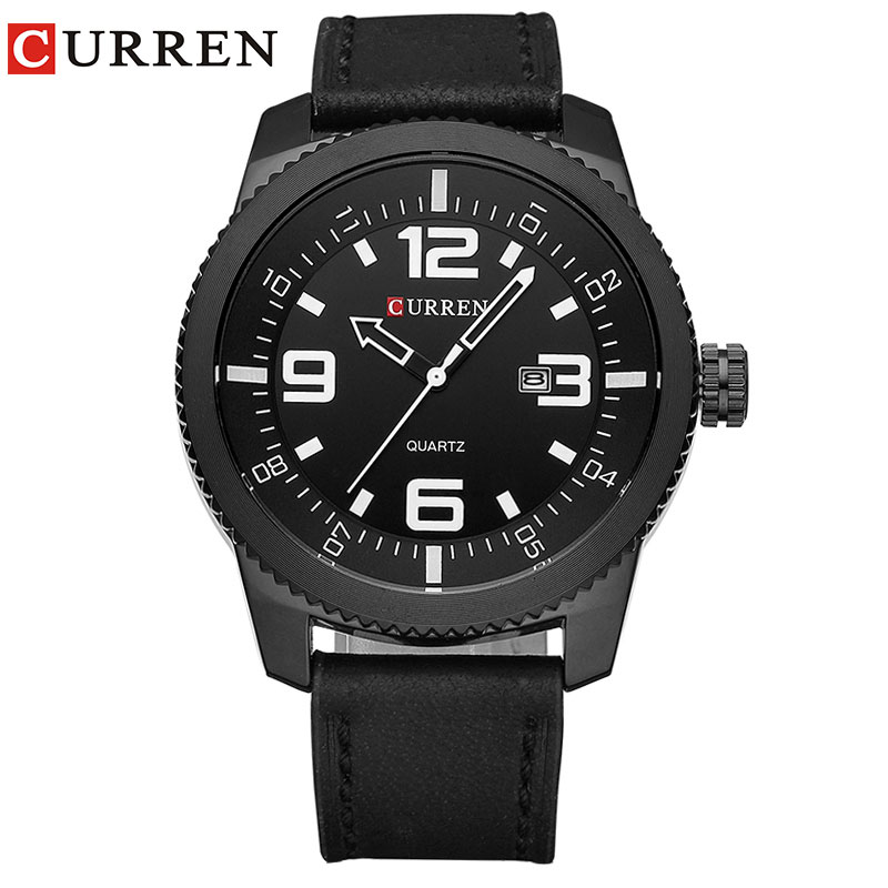 カレン腕時計男性高級腕時計男性時計カジュアルファッションビジネススポーツ腕時計クォーツレザーレロジオmasculino8180