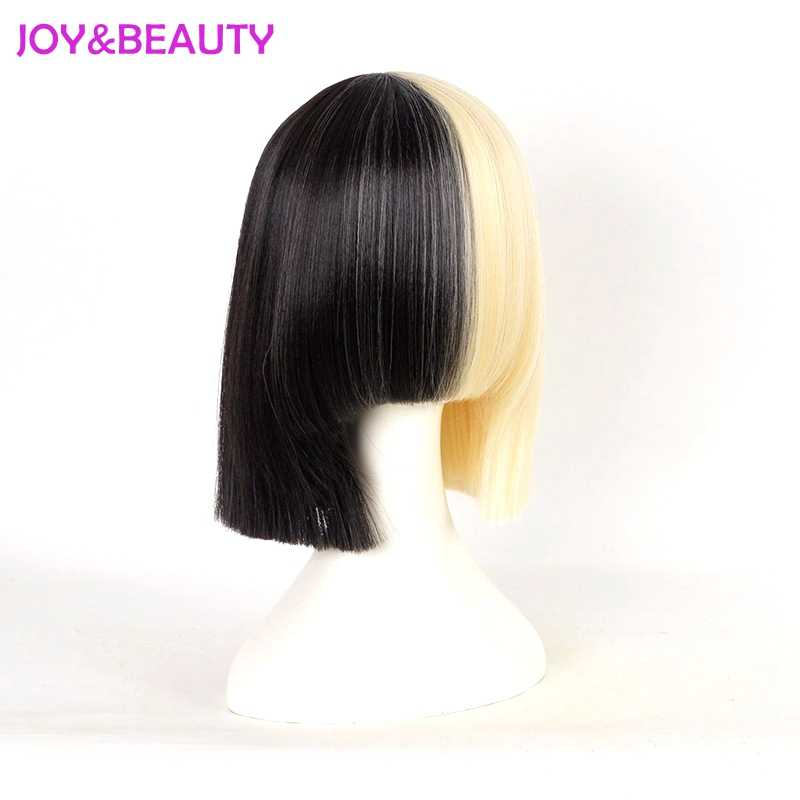 JOY&BEAUTY Hair Black White Black Golden Mix Short Straight Wig High Temperature Fiber Hair Sia Cosplay Wig 35cm Long