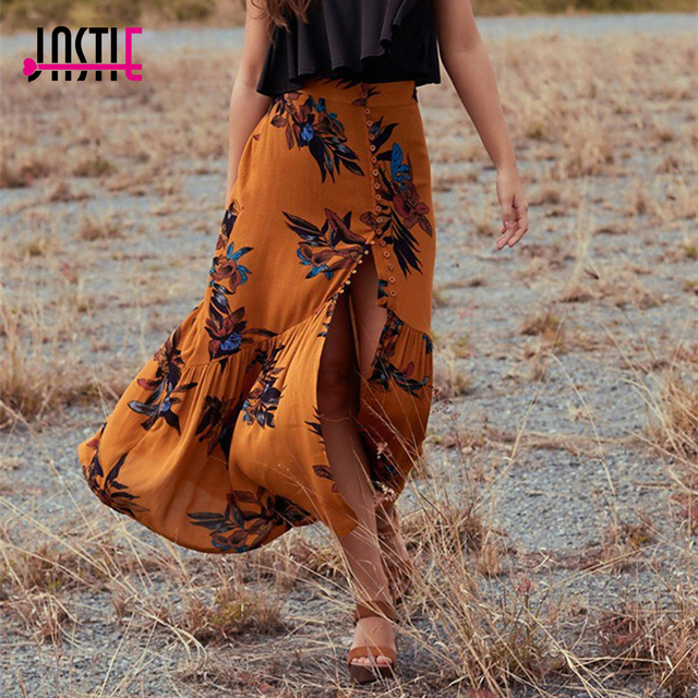 b8a0b782d2 Jastie 2017 Summer Skirts Womens Vintage Floral Print Long Skirt Gypsy Boho  Chic Faldas Mujer Mermaid