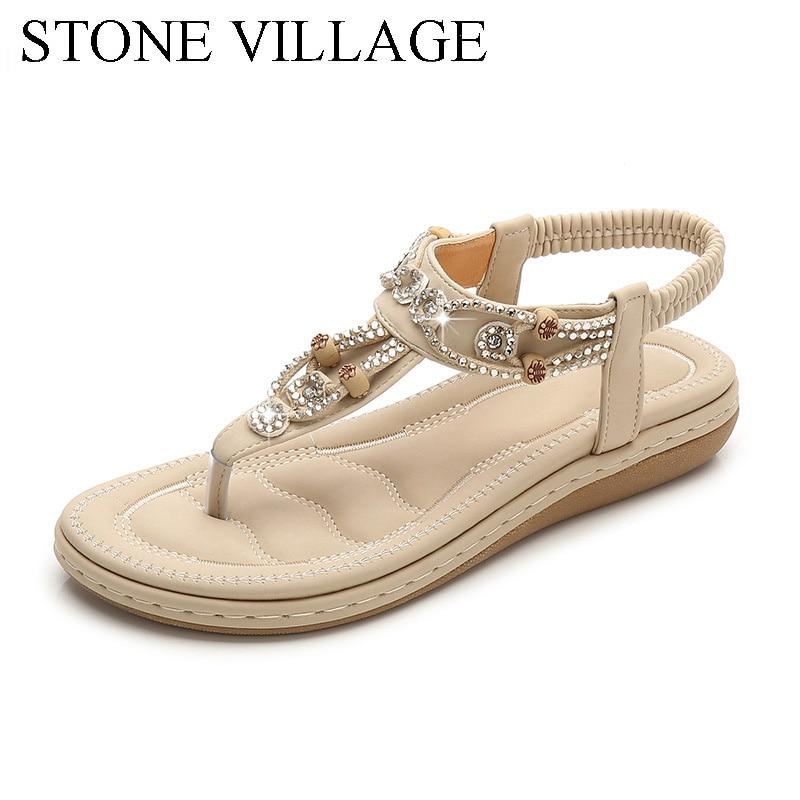 Women Sandals 2020 Flat Summer Women Sandals Crystal Bohemia Ethnic Flat Sandals Flip Flops Casual String Bead Beach Shoes Woman