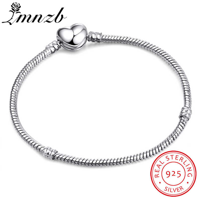 LMNZB Original 925 Solid Silver Heart Shape Clasp Snake Chain Charm Bracelets For Women Girl DIY Making Jewelry Gift LBH191